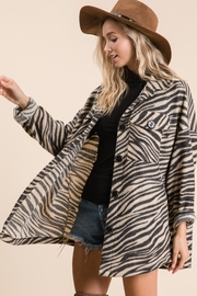 Ces Femme Zebra Print Button Down Shirt - Front cropped