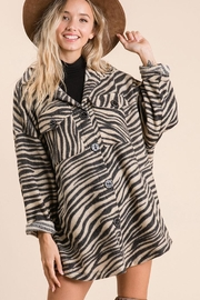 Ces Femme Zebra Print Button Down Shirt - Front full body