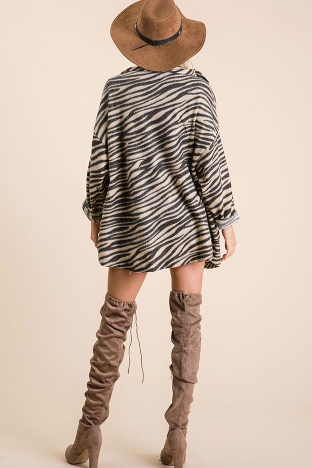 Ces Femme Zebra Print Button Down Shirt - Side Cropped Image