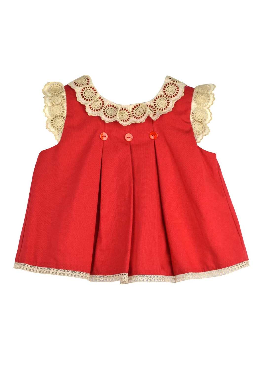 cesar blanco Red & Lace Dress - Side Cropped Image