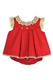 cesar blanco Red & Lace Dress - Front cropped