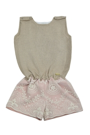 cesar blanco Rose and Beige Romper - Front cropped