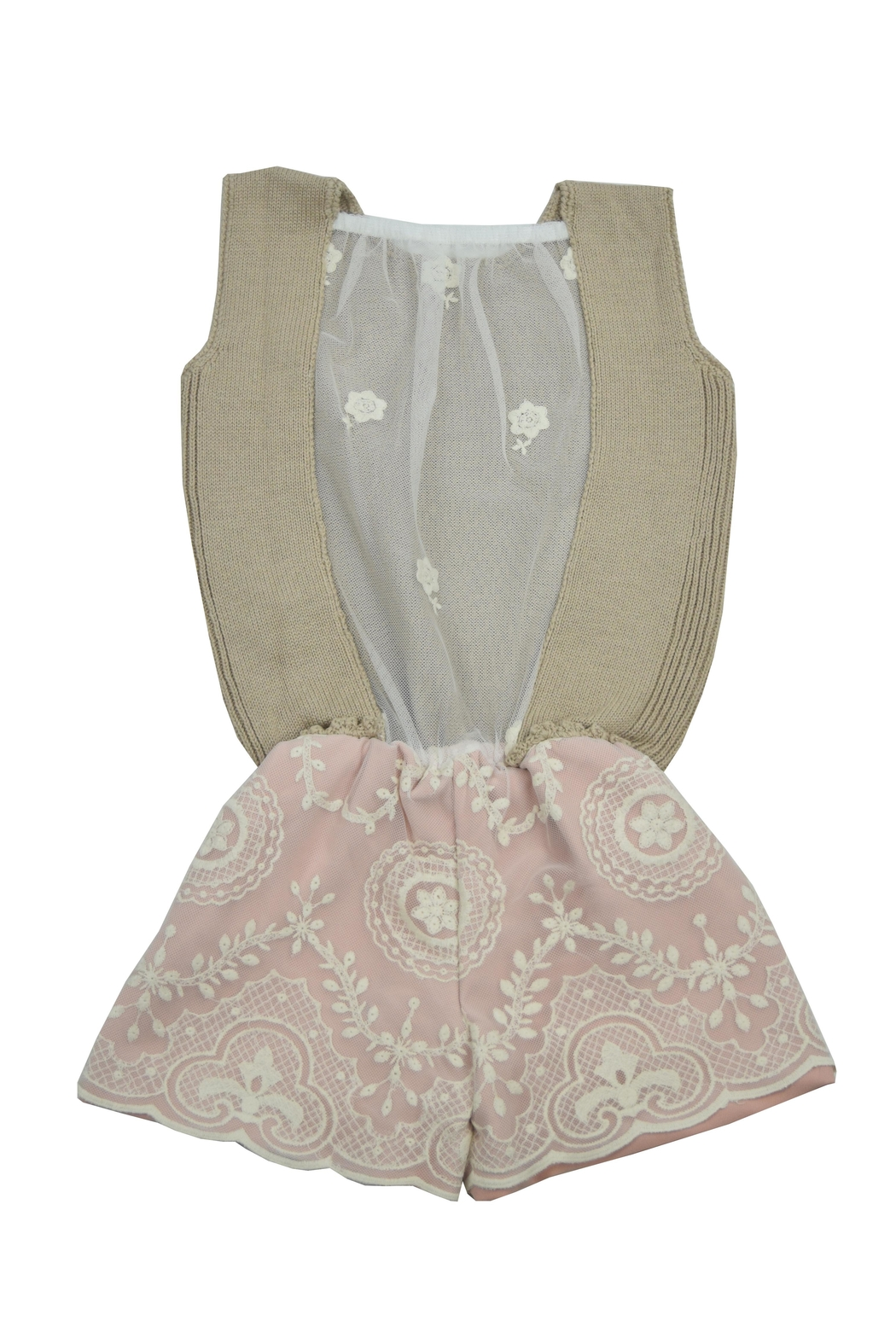 cesar blanco Rose and Beige Romper - Front Full Image