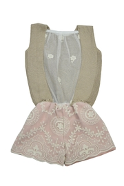 cesar blanco Rose and Beige Romper - Front full body
