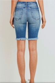Cest Toi Denim Bermuda Shorts - Front full body