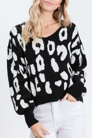 Cezanne Black-White Giraffe-Print Sweater - Product Mini Image