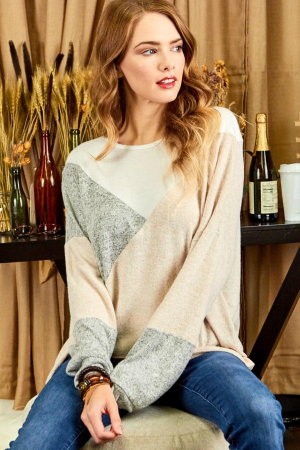 Cezanne Color-Block Lightweight Sweater - Front Cropped Image