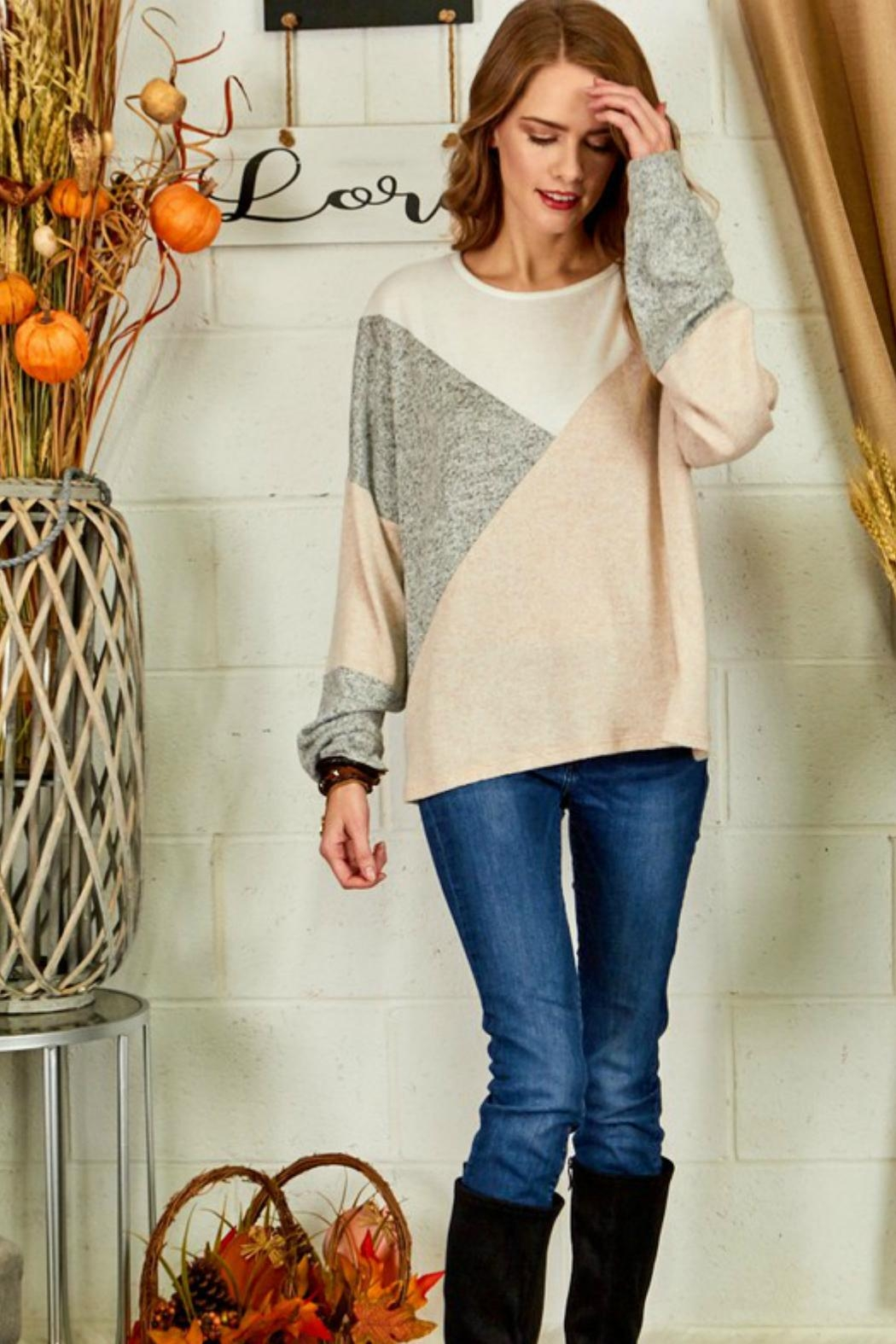 Cezanne Color-Block Lightweight Sweater - Side Cropped Image