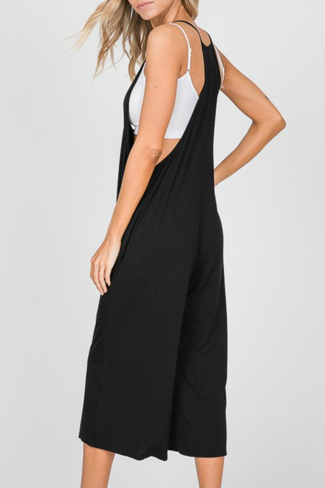Cezanne Sleeveless Black Cropped-Jumpsuit - Front Full Image