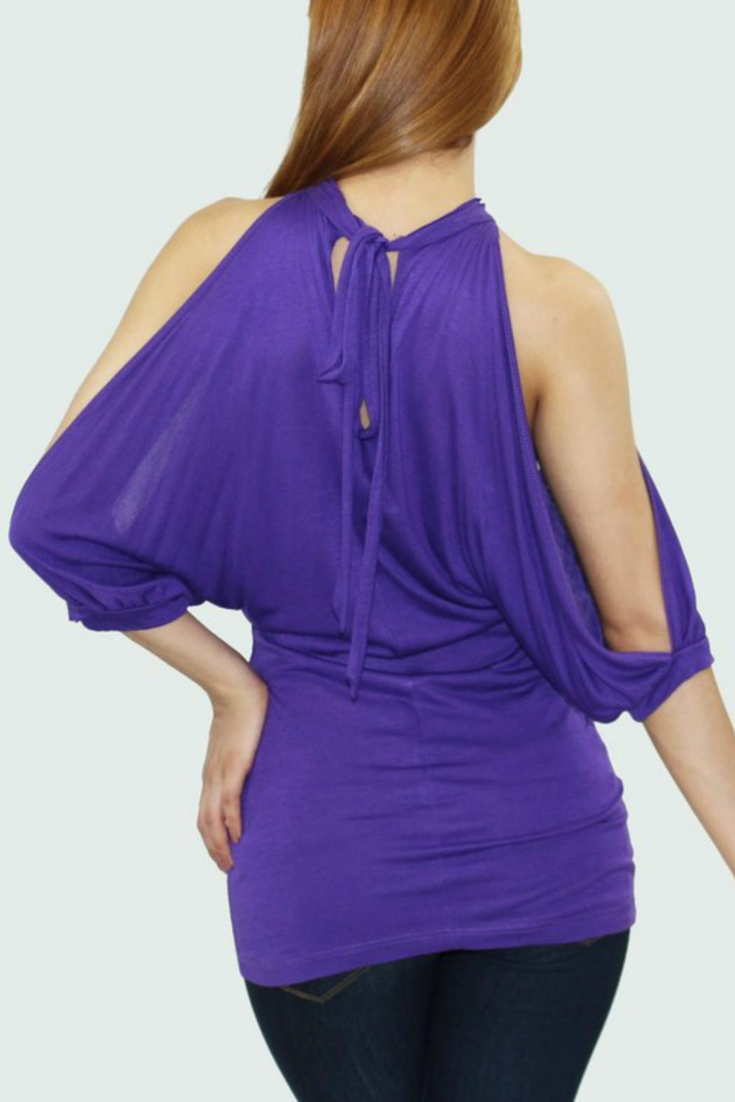 Cezanne Cut Out Sleeve Top - Front Full Image
