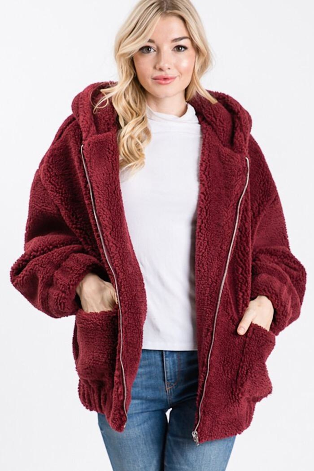 Cezanne Hooded Sherpa Jacket - Front Cropped Image