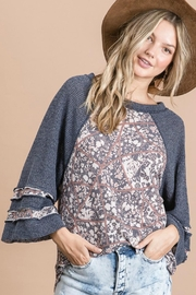Cezanne Multi-Pattern Bell-Sleeve Top - Product Mini Image