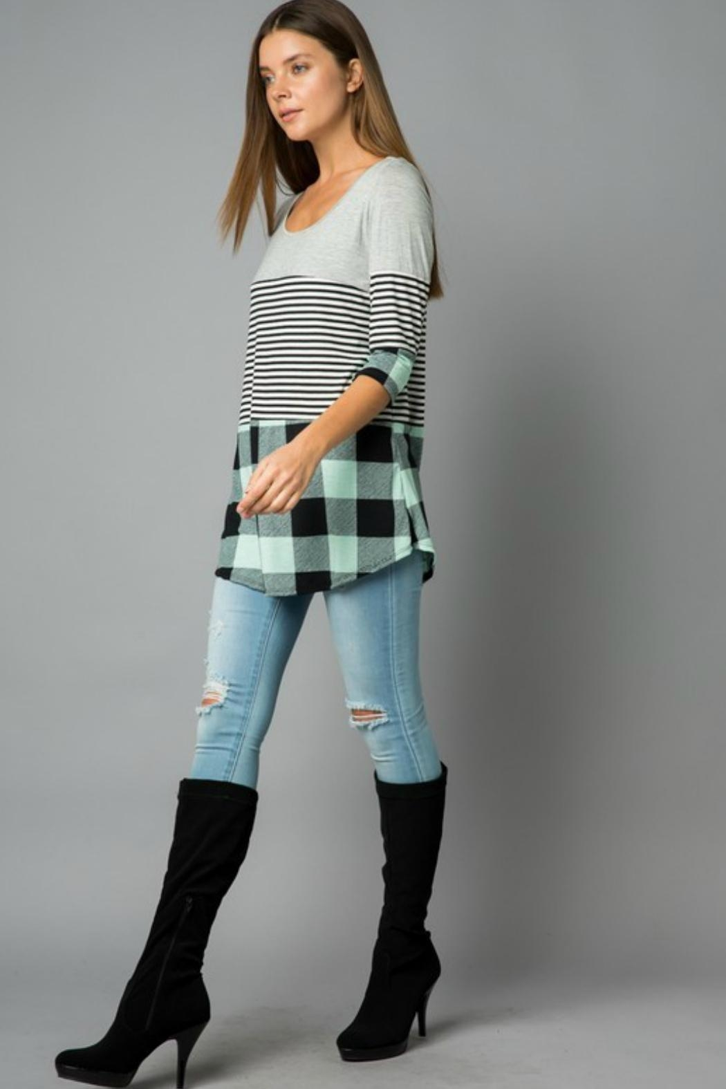 Cezanne Plaid/stripe Tunic Top - Front Cropped Image