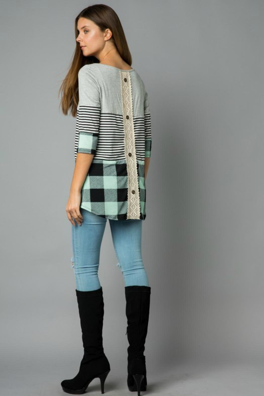 Cezanne Plaid/stripe Tunic Top - Front Full Image