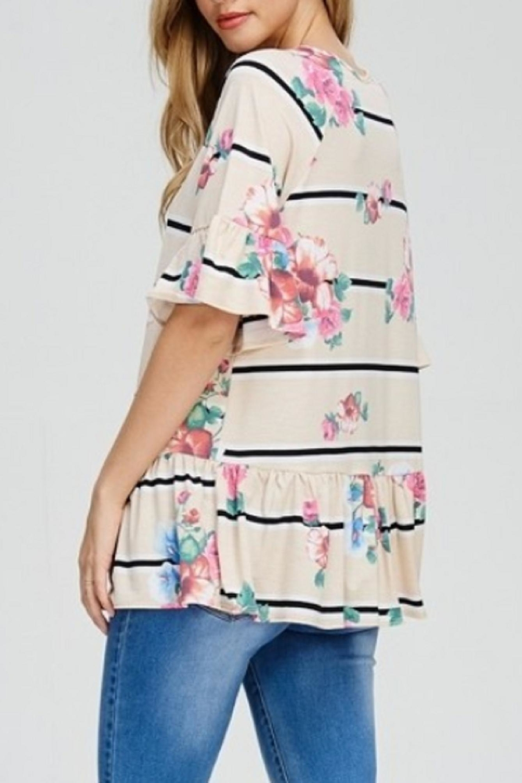 Cezanne Ruffle Floral Top - Side Cropped Image