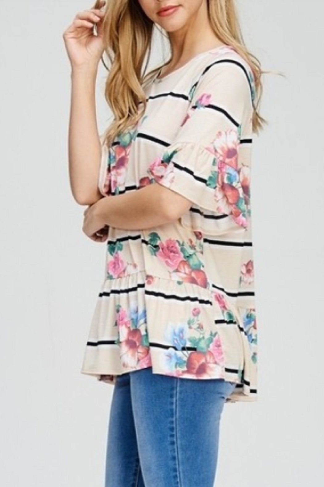 Cezanne Ruffle Floral Top - Front Full Image