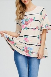 Cezanne Ruffle Floral Top - Front cropped