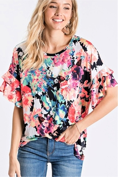 Cezanne Ruffle-Sleeve Floral Top - Product List Image