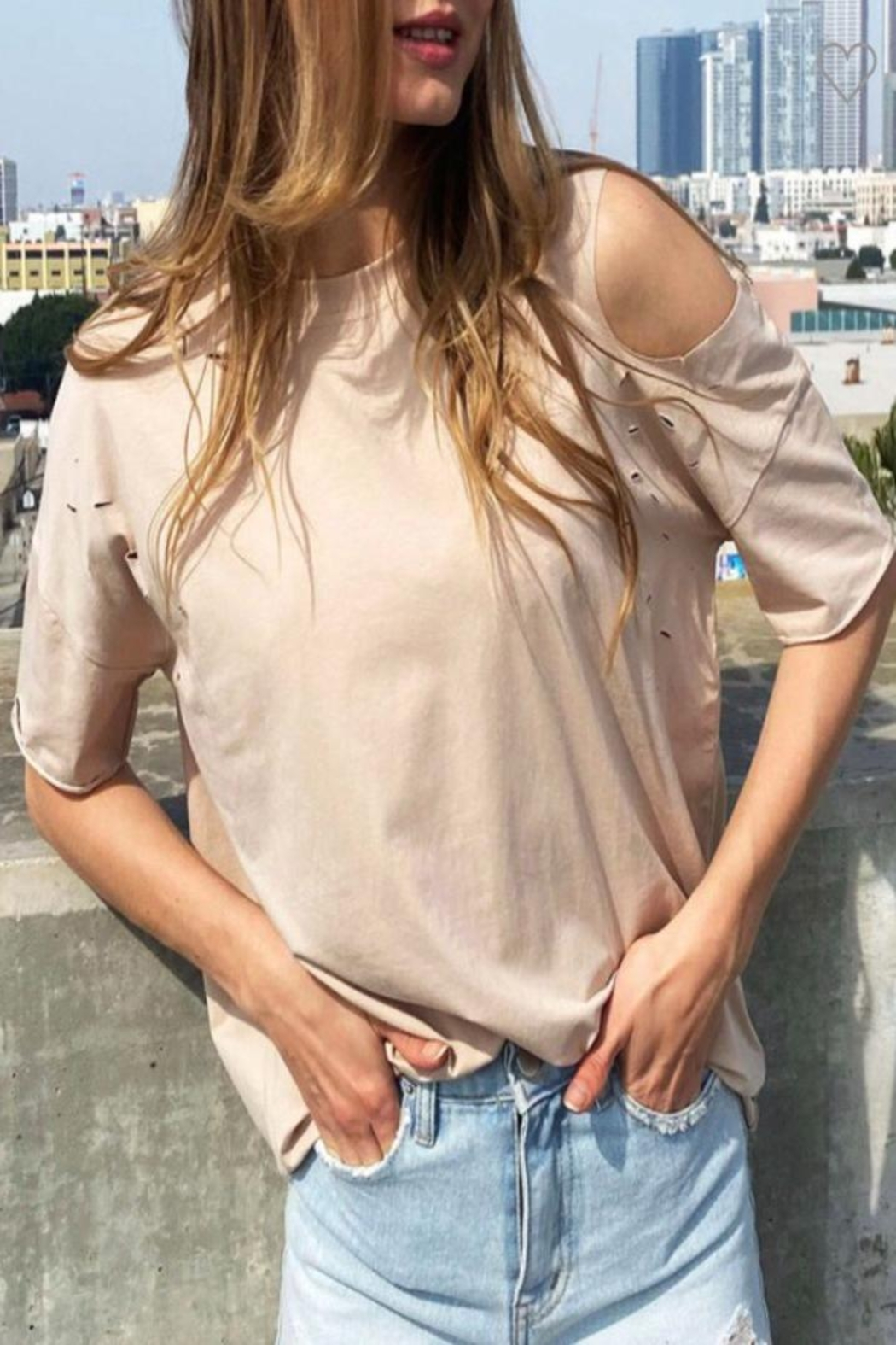 Cezele Latte Distressed Top - Front Full Image