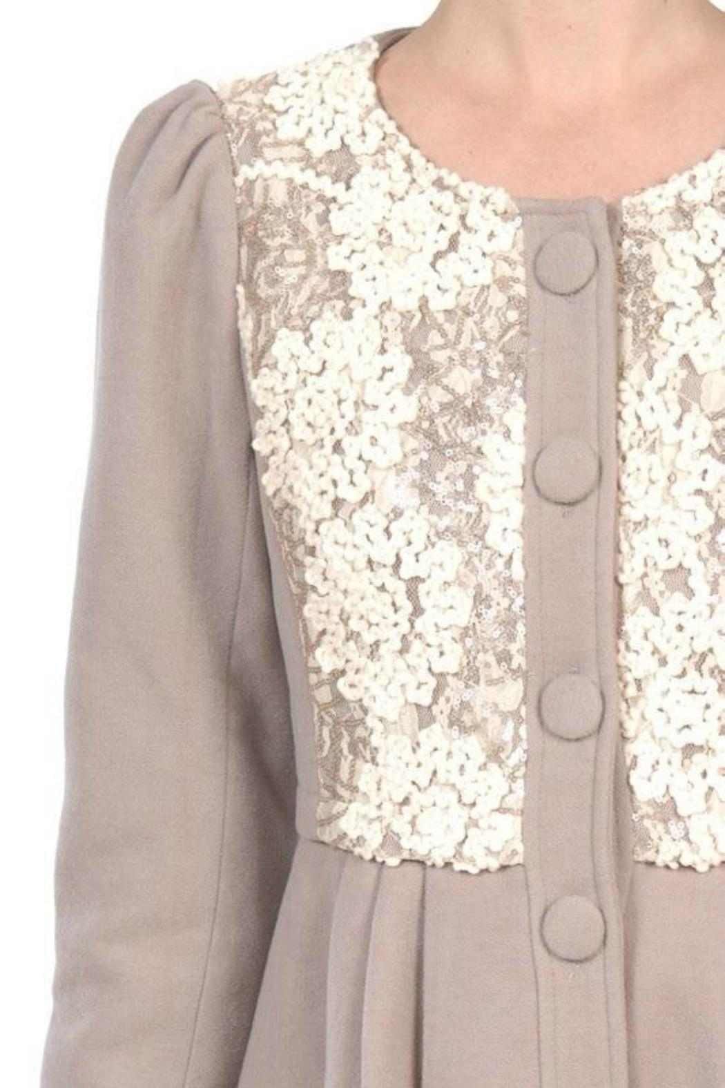 A'reve Sequin Taupe Jacket - Side Cropped Image