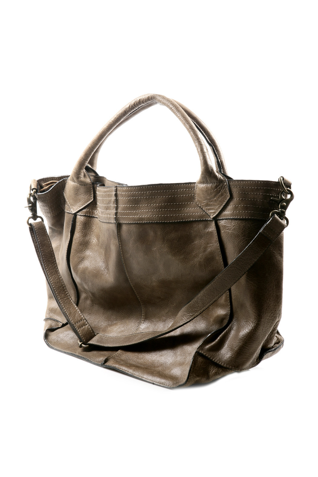 NU New York Pleated Leather Bag - Front Full Image