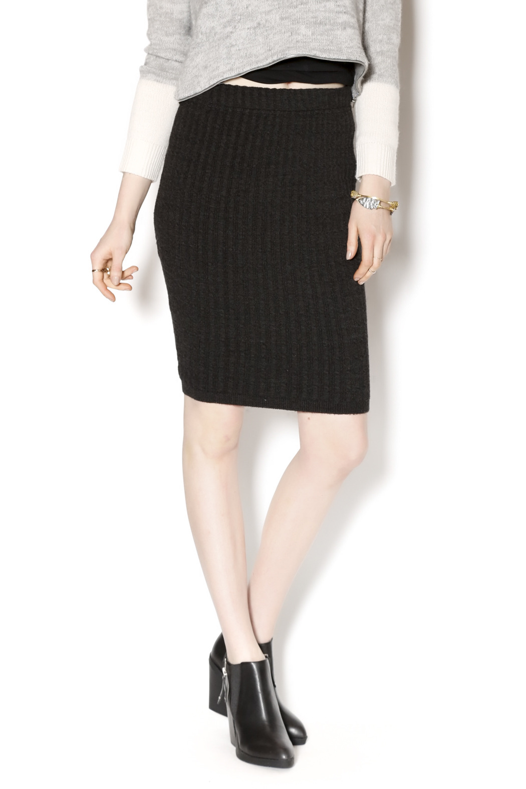 M. Rena Cable Sweater Skirt - Front Cropped Image