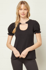 entro  Chain Detail Short Sleeve Top - Product Mini Image