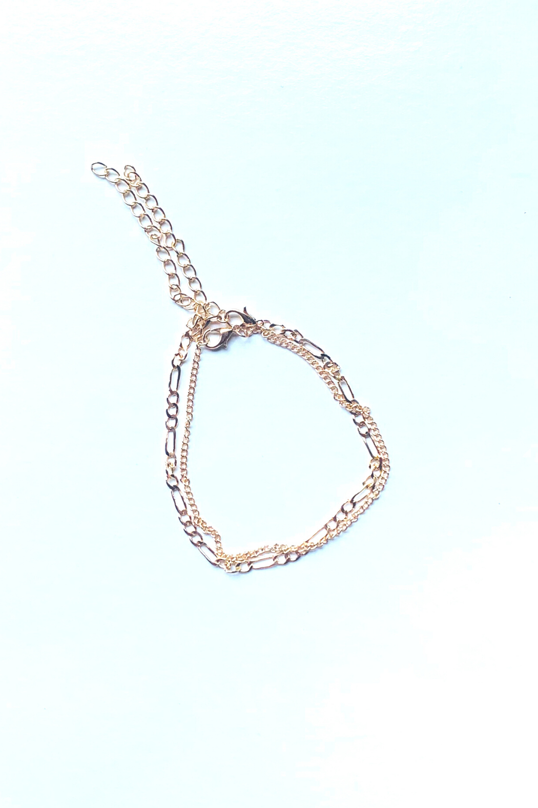 dani & em Chain Link GF Layered Anklet - Front Cropped Image