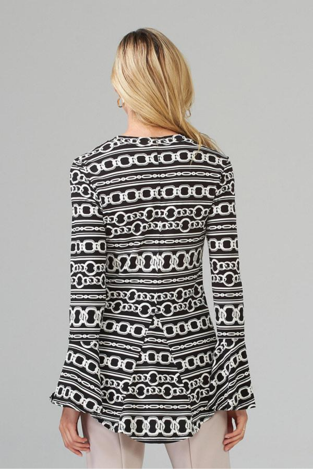 Joseph Ribkoff  Chain Print Bell Slv Top - Side Cropped Image