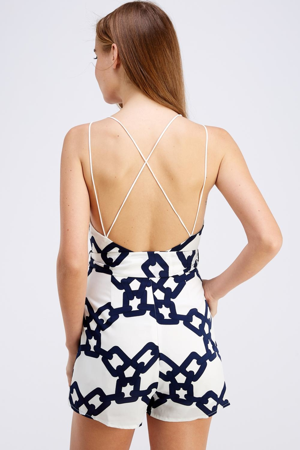 luxxel Chain Print Romper - Back Cropped Image