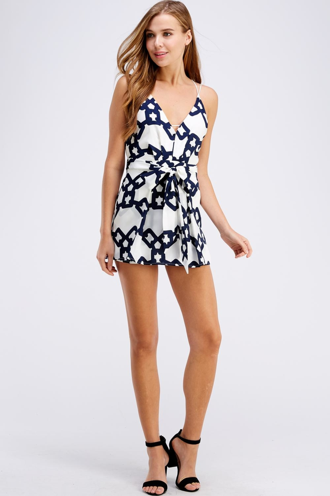luxxel Chain Print Romper - Front Full Image