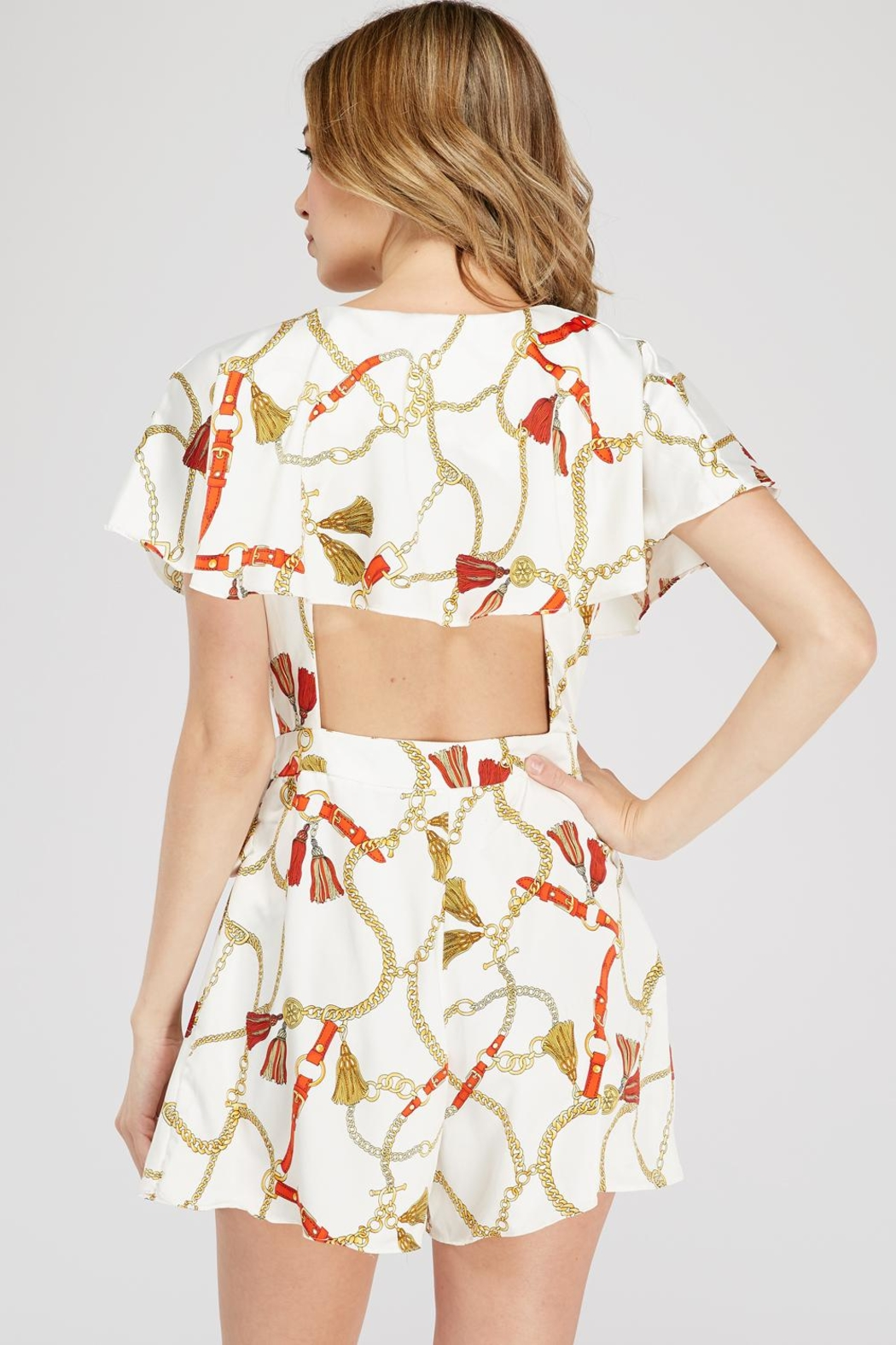Do & Be Chain Print Romper - Side Cropped Image