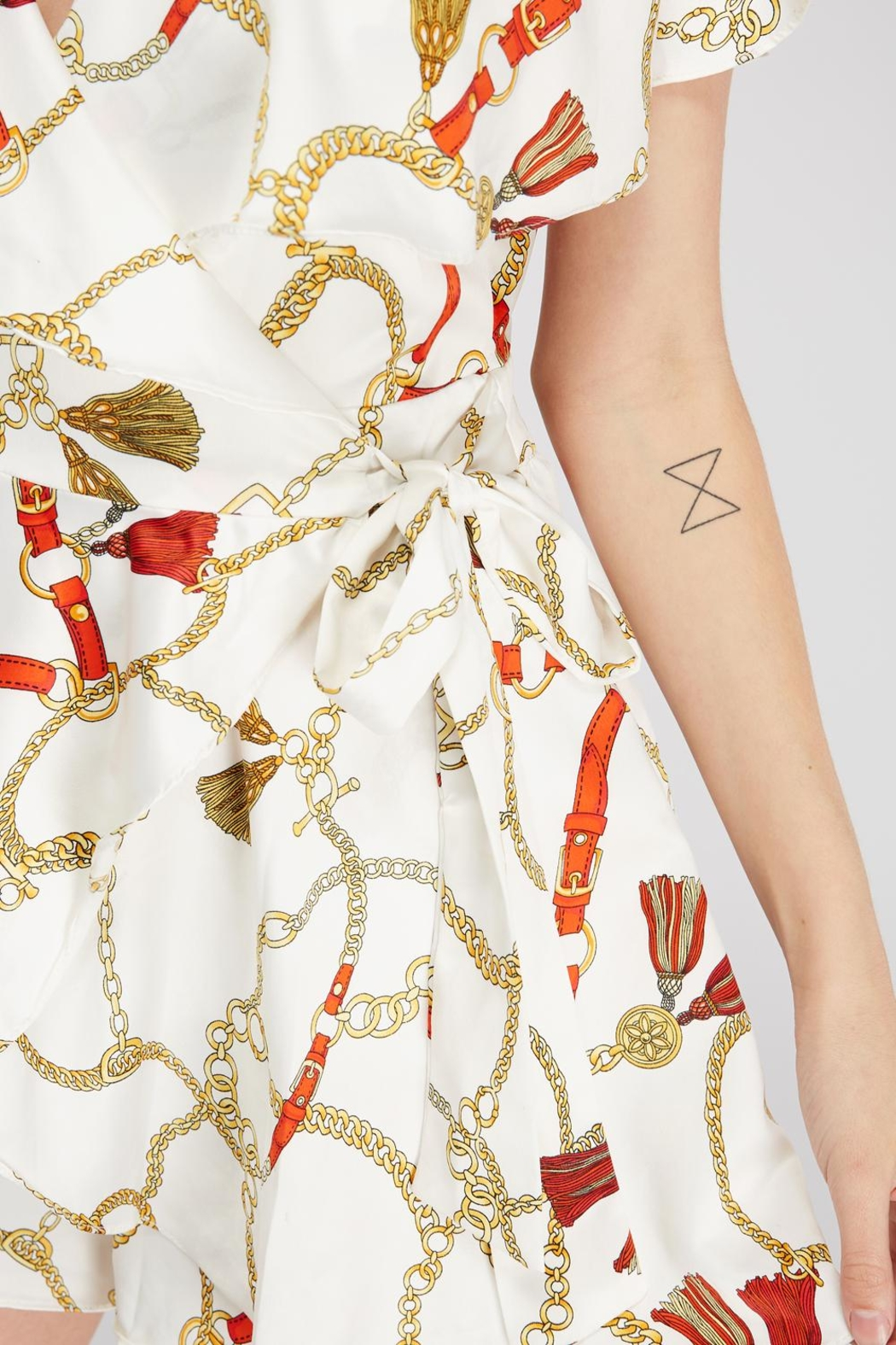 Do & Be Chain Print Romper - Back Cropped Image