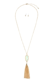 Riah Fashion Chain-Tassel-Necklace And Stud-Earrings-Set - Front cropped