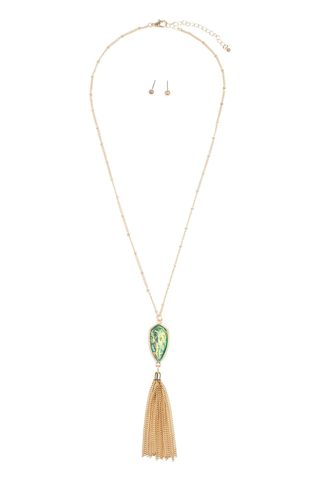 Riah Fashion Chain-Tassel-Necklace And Stud-Earrings-Set - Front Cropped Image