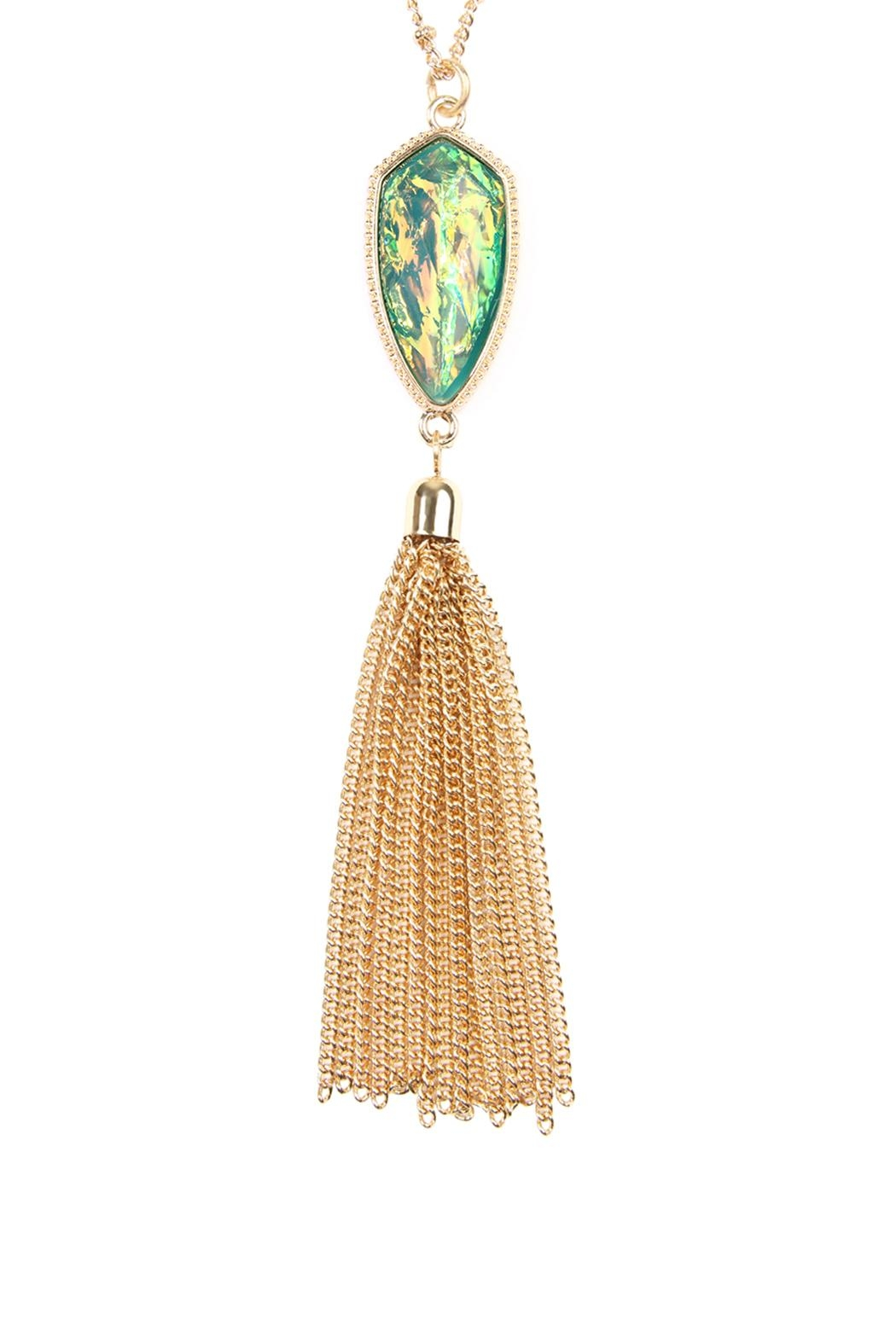 Riah Fashion Chain-Tassel-Necklace And Stud-Earrings-Set - Front Full Image