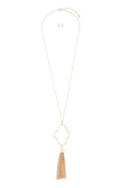Riah Fashion Chain-Tasseled-Moroccan Pendant-Necklace And-Earring-Set - Product Mini Image