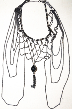 Handmade by CA artist Multi-Chain Silver and Black, Drop Necklace with Pendant - Product List Image