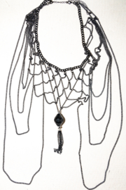 Handmade by CA artist Multi-Chain Silver and Black, Drop Necklace with Pendant - Product Mini Image