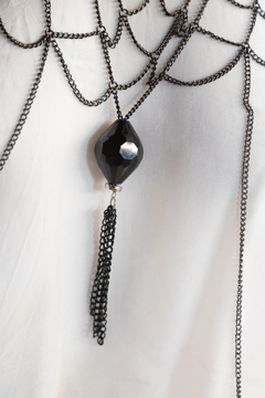 Handmade by CA artist Multi-Chain Silver and Black, Drop Necklace with Pendant - Alternate List Image