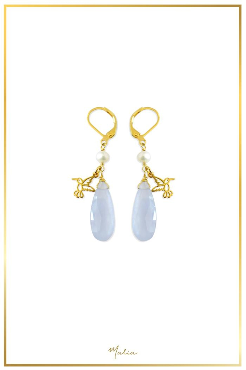 Malia Jewelry Chalcedony Hummingbird Earrings - Main Image