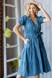 veveret Chambray belted and tiered midi dress - Product Mini Image