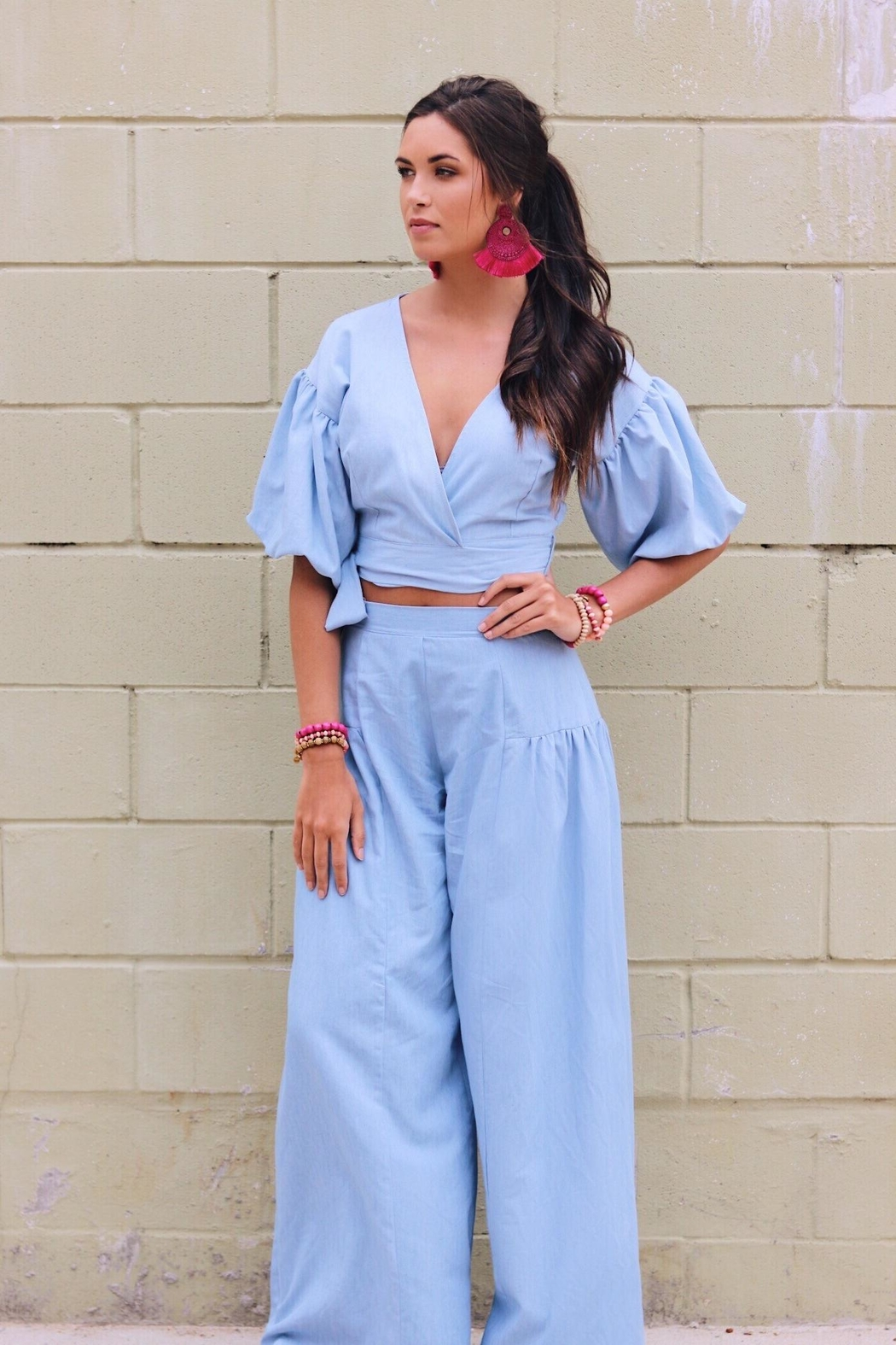 Lucy Love Chambray Crop Set - Main Image