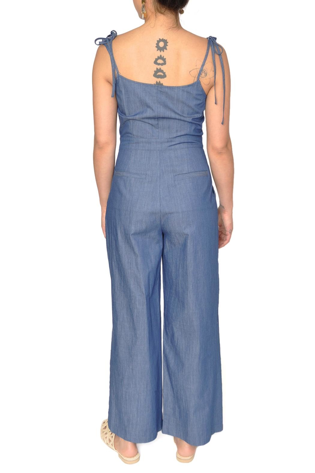 EVIDNT Chambray Denim Jumpsuit - Side Cropped Image
