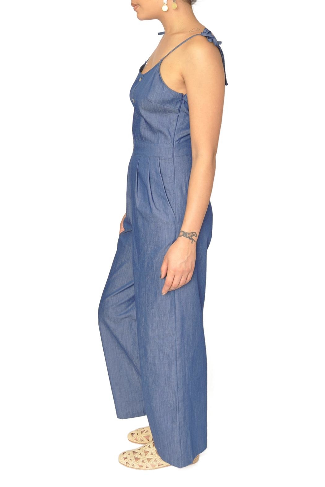 EVIDNT Chambray Denim Jumpsuit - Front Full Image