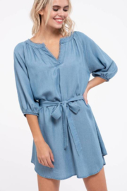 blu pepper  Chambray Dress with belt and puff Sleeve - Product Mini Image