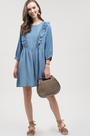Blu Pepper Chambray Dress with Ruffle Detail - Product Mini Image