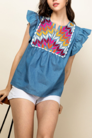 Thml Chambray Emb. Top - Product Mini Image