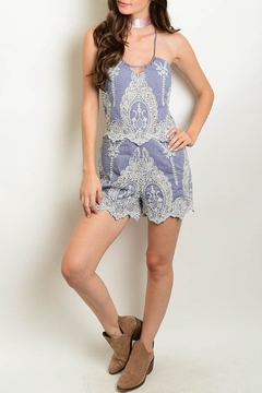 Depri Chambray Embroidered Romper - Product List Image