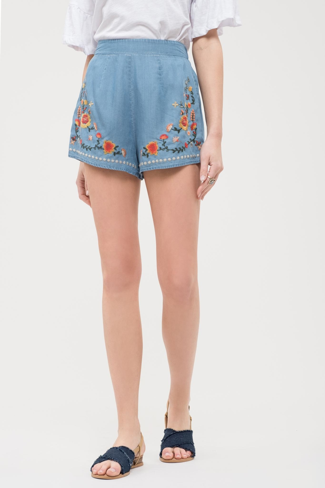 Blu Pepper Chambray Embroidered Shorts - Main Image
